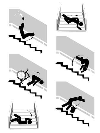 Range of illustrations depicting person slipping down the stairs