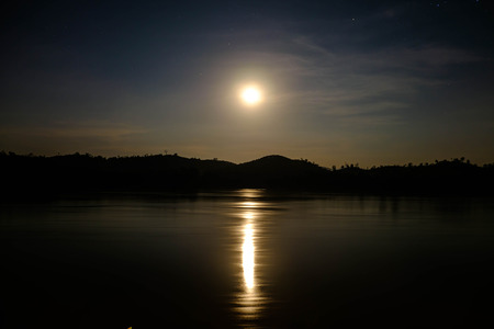 moonbeam: night landscape with moon and moonbeam in river Stock Photo