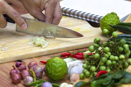 Thai cooking class with book and ingredients Stock Photo