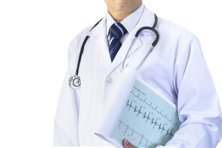 cardiograph: Partially cropped Asian male doctor with cardiograph isolated on white background with clipping path.