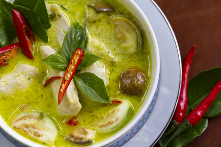 Thai Cooking: Chicken Green Curry Closeup Stock Photo