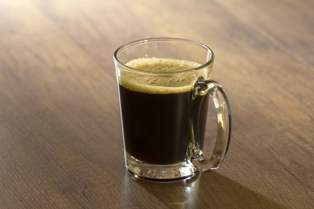 decaf: Hot black americano coffee in transparent glass cup