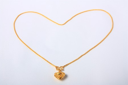 Gold heart pendant with Gold heart necklace