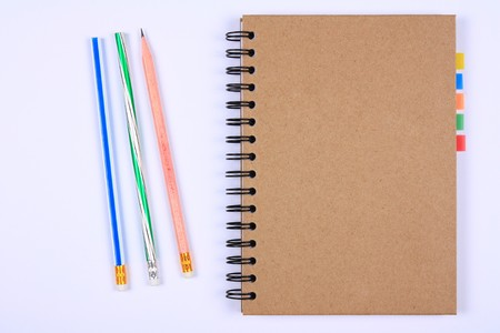 recycle notebook with pencils & bookmark for environment and the earth Stock Photo - 8194855