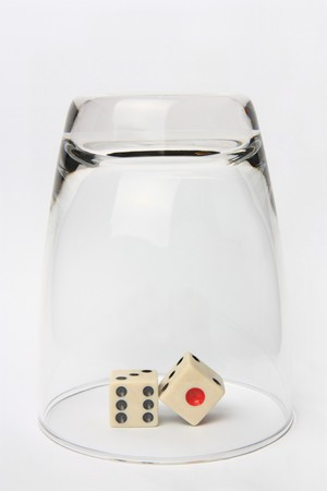 dice in the Clear Glass upside down