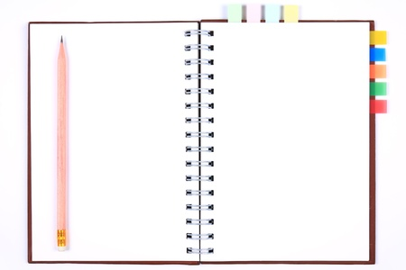 blank notebook with bookmark & white paper for take notes photo