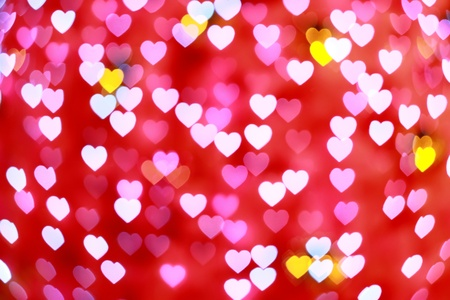 pink defocused hearts background (Bokeh) for love Stock Photo