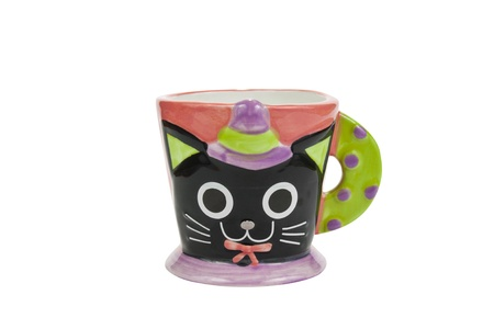 cat cup on white background, isolate Stock Photo