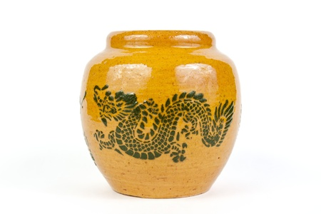 dragon jar on white background, isolate Stock Photo