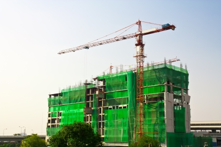 high building construction with crane