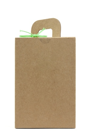 recycle box with green rope on white background, isolated photo