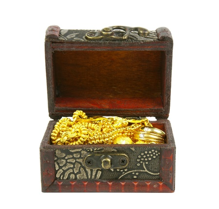 gold in ancient treasure chest, isolated