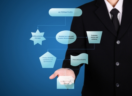 businessman analysis process present, blue background photo