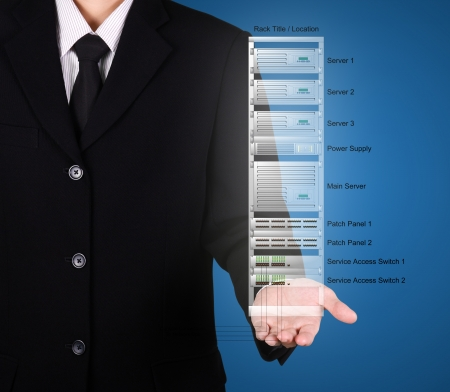 businessman present rack network server on hand, blue backgrpund Stock Photo