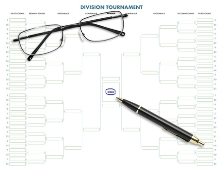 Division tournament table with pen & eyeglasses on white background