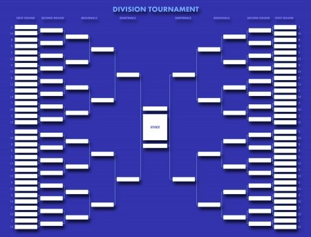 Division tournament table on blue background