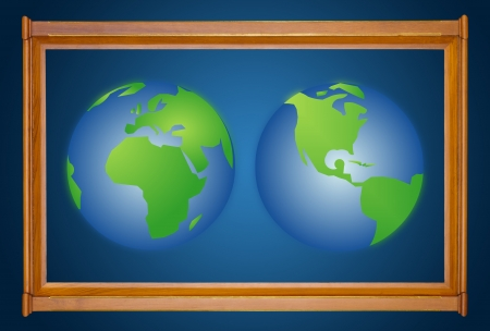 dual: dual earth in wooden picture modern frame on blue