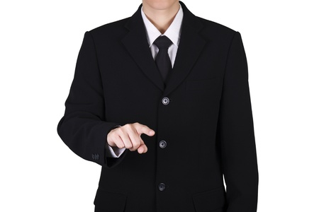 finger of business man portrait isolated on white