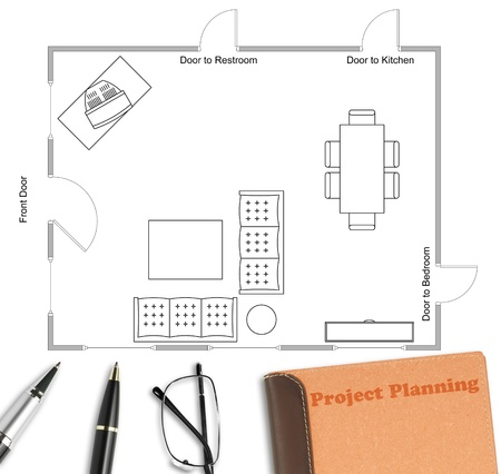 Floor plan with pen, eyeglasses & notebook on white paper work Stock Photo - 19787725