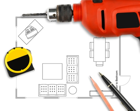 Floor plan with pen, pencil, drill & measuring tape on white paper work Stock Photo - 19787733