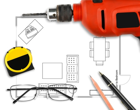 drill floor: Floor plan with pen, pencil, drill, eyeglasses & measuring tape on white paper work Stock Photo