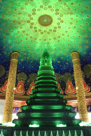 Jade glass pagoda at Paknam Bhasicharoen Temple, Thailand (Just created) photo