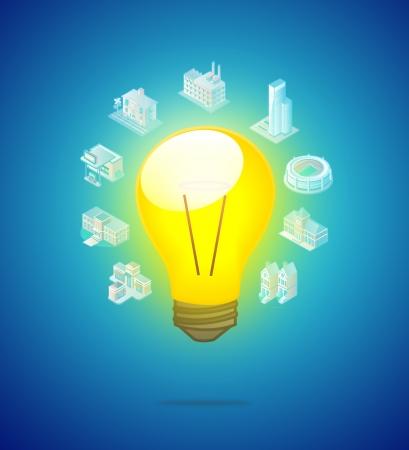 light bulb for investment idea on blue Stock Photo