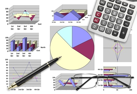 Marketing & financial analysis with graphic chart for business planning Stock Photo - 19787895