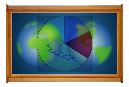 dual: marketing analysis chart in wooden picture modern frame on dual earth background