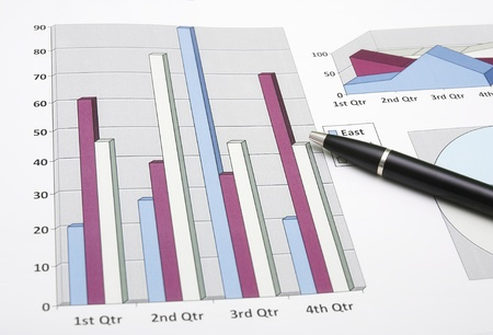 Marketing analysis graphic chart with pen for business planning Stock Photo - 19906714