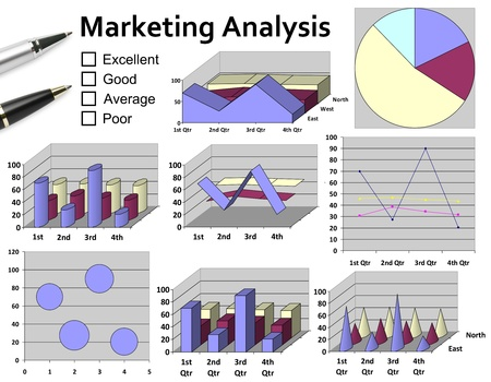 Marketing analysis with graphic chart & pen for business planning Stock Photo - 19906703