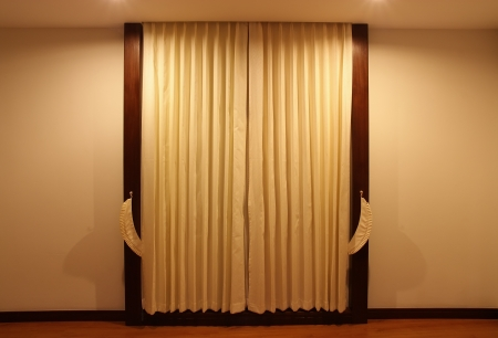 Modern curtain in hotel on warm feeling photo