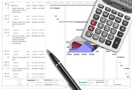 Project schedule analysis with pen & calculator on white paper planing