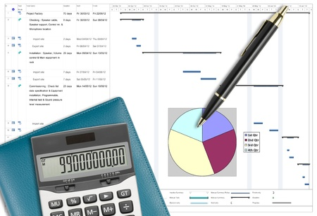 timescale: Project schedule analysis with pen, calculator & notebook on white paper planing Stock Photo