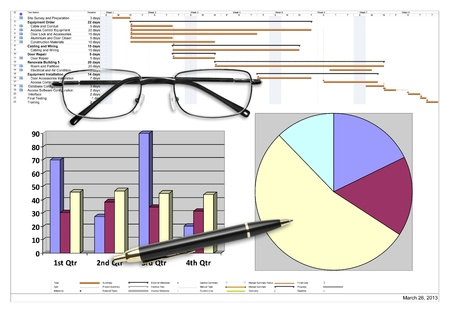 Project schedule with financial analysis, pen & eyeglasses on white Stock Photo - 19906715