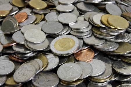 Ten Baht Thai at Center & Pile Coin Stock Photo