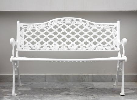 white chair garden at calmly & empty