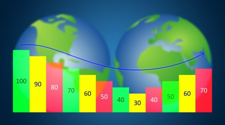 Business analysis chart on earth background photo