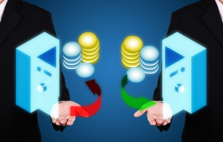 businessman present save money for investment on blue background photo