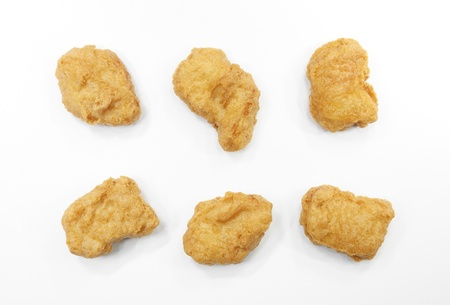 chicken nuggets on white background, isolated