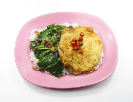 chinese broccoli or chinese kale with minced pork & omelet on rice, isolated