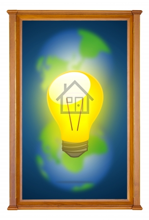 dual: home light bulb in wooden picture modern frame on dual earth background