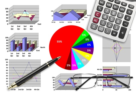 Marketing & financial statistic with graphic chart for business planning photo
