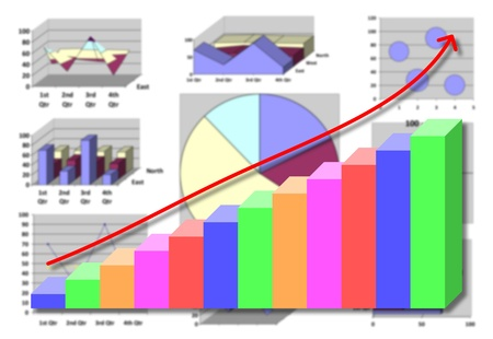 Marketing & financial statistic with graphic chart for business planning on white photo