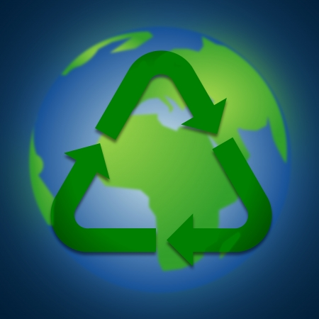 recycle icon on the earth, blue background photo