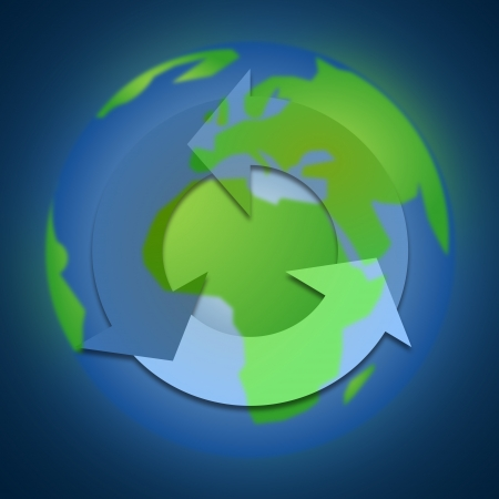 recycle icon on the earth, blue background Stock Photo - 20354669