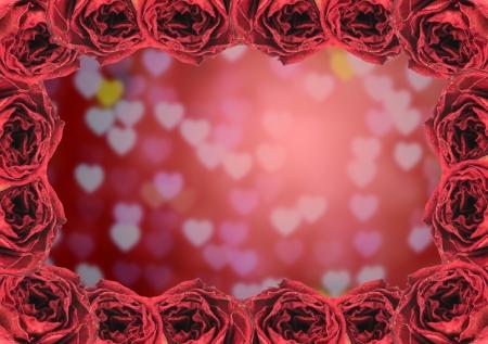 red rose bokeh: beautiful dry red rose frame on blur heart bokeh background