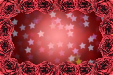 red rose bokeh: beautiful dry red rose frame on blur star bokeh background
