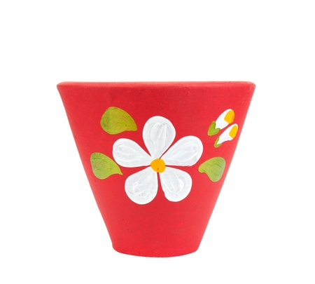 big flower: Pottery flowerpot on white backgroung, included clipping path