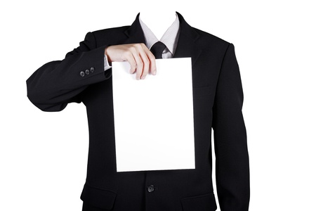 believable: Template businessman show blank paper, isolated included clipping path Stock Photo